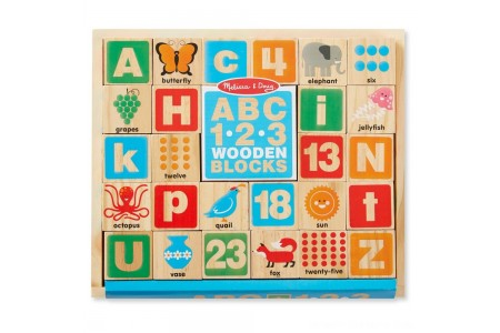 Melissa & Doug ABC/123 Wooden Blocks (26pc) Free Shipping