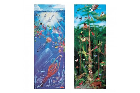 Melissa & Doug Under the Sea and Rainforest Cardboard Floor Puzzle Set 2pc, Kids Unisex Free Shipping