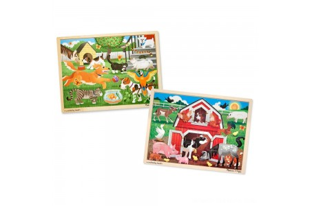 Melissa & Doug Animals Wooden Jigsaw Puzzle Sets - Pets and Farm 24pc each, 48pc Free Shipping