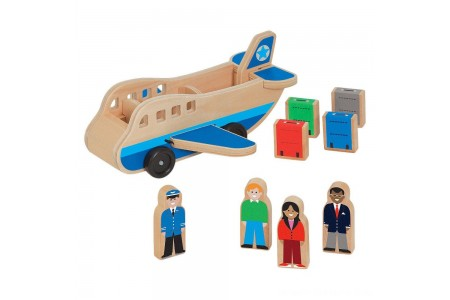 Melissa & Doug Wooden Airplane Play Set With 4 Play Figures and 4 Suitcases Free Shipping