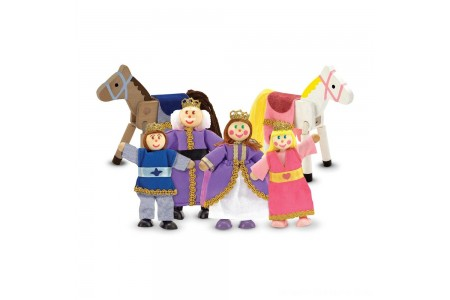 Melissa & Doug Royal Family Wooden Doll Set - 6pc Free Shipping