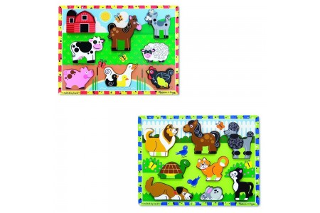 Melissa & Doug Wooden Chunky Puzzles Set - Farm and Pets 16pc Free Shipping