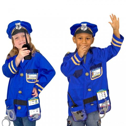 Melissa & Doug Police Officer Role Play Costume Dress-Up Set (8pc), Adult Unisex, Size: Small, Red/Gold Free Shipping