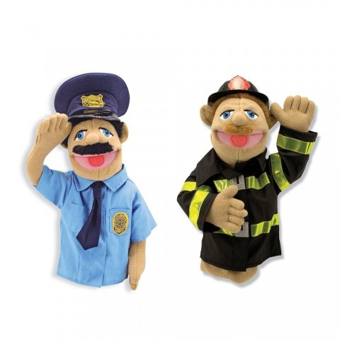 Melissa & Doug Rescue Puppet Set - Police Officer and Firefighter Free Shipping