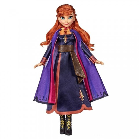 Disney Frozen 2 Singing Anna Fashion Doll with Music Wearing a Purple Dress Free Shipping