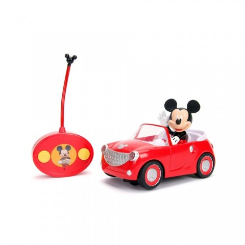 "Jada Toys Disney Junior RC Mickey Mouse Club House Roadster Remote Control Vehicle 7"" Glossy Red Free Shipping"
