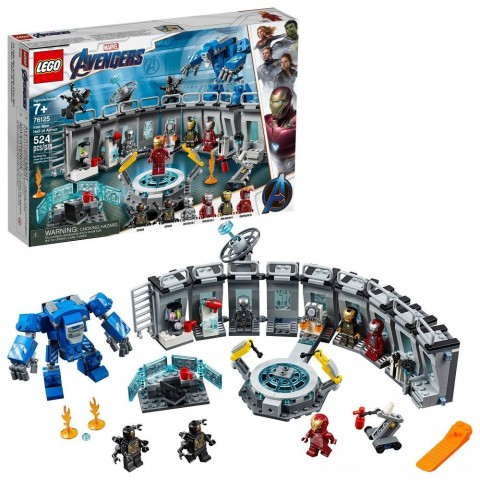 LEGO Marvel Avengers Iron Man Hall of Armor Superhero Mech Model with Tony Stark Action Figure 76125 Free Shipping