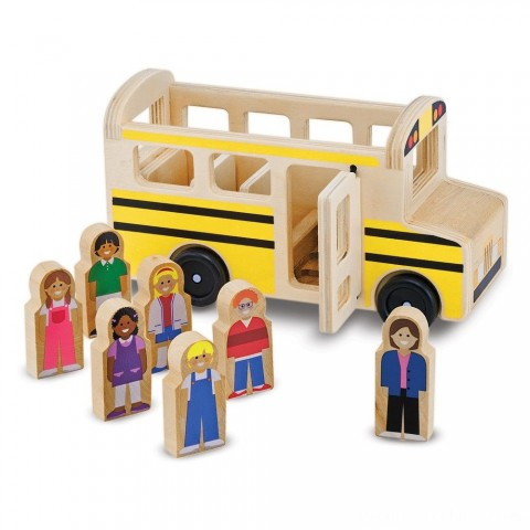 Melissa & Doug School Bus Wooden Play Set With 7 Play Figures Free Shipping