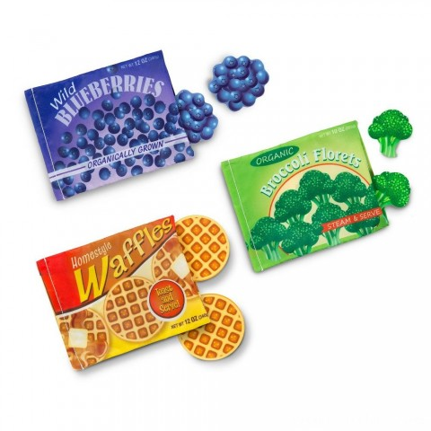 Melissa & Doug Store and Serve Frozen Food Resealable Cloth Bags With Wooden Play Food Free Shipping