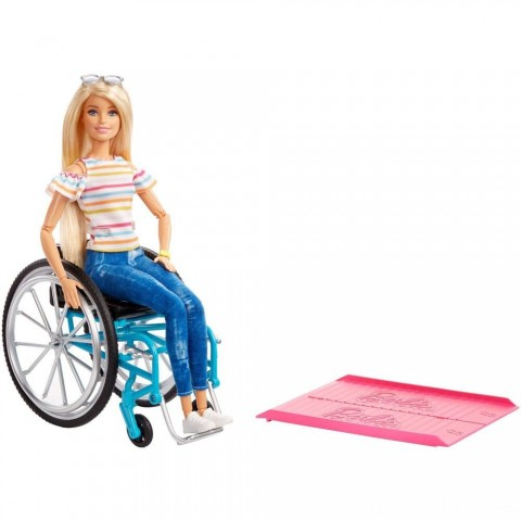 Barbie Fashionistas Doll #132 Blonde with Rolling Wheelchair and Ramp Free Shipping