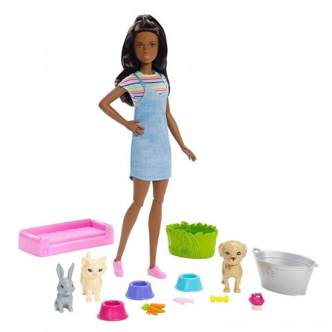 Barbie Play 'n' Wash Pets Nikki Doll and Playset Free Shipping