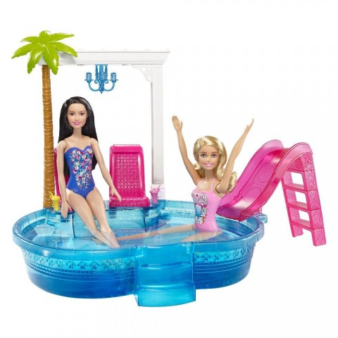 Barbie Glam Pool with Water Slide & Pool Accessories Free Shipping