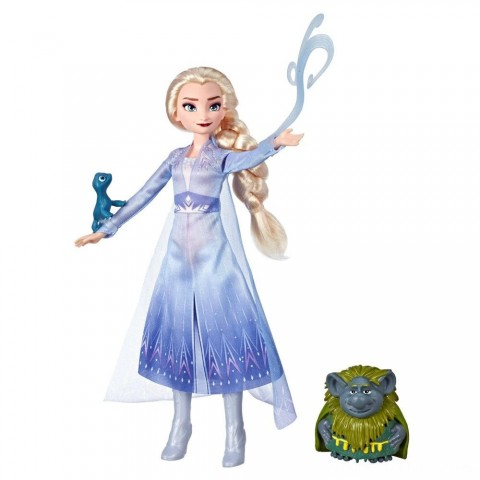 Disney Frozen 2 Elsa Fashion Doll In Travel Outfit With Pabbie and Salamander Figures Free Shipping