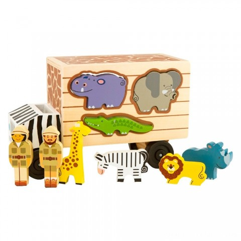 Melissa & Doug Animal Rescue Shape-Sorting Truck - Wooden Toy With 7 Animals and 2 Play Figures Free Shipping