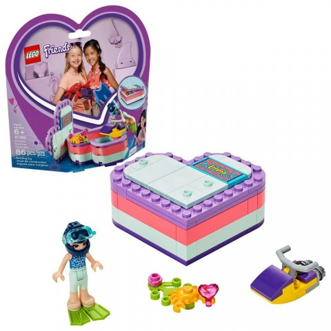 LEGO Friends Emma's Summer Heart Box 41385 Building Kit with Toy Scooter and Mini Doll 83pc Free Shipping