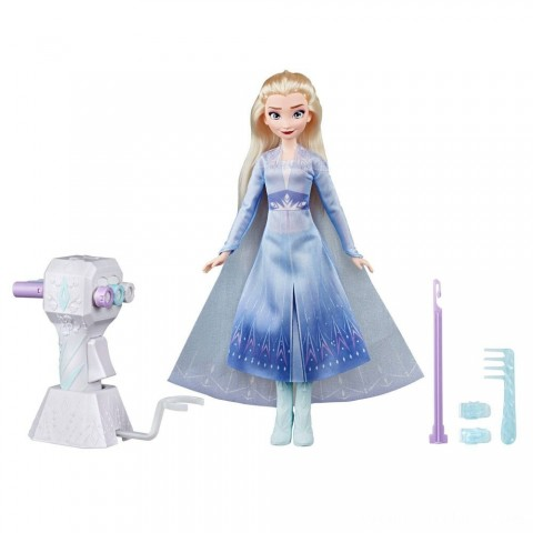 Disney Frozen 2 Sister Styles Elsa Fashion Doll With Extra-Long Blonde Hair, Braiding Tool and Hair Clips Free Shipping