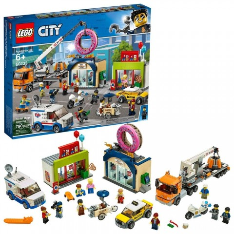 LEGO City Donut Shop Opening 60233 Store Opening Build and Play with Toy Vehicles and City Minifigures Free Shipping