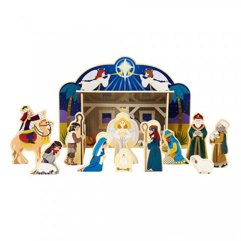 Melissa & Doug Classic Wooden Christmas Nativity Set With 4-Piece Stable and 11 Wooden Figures Free Shipping