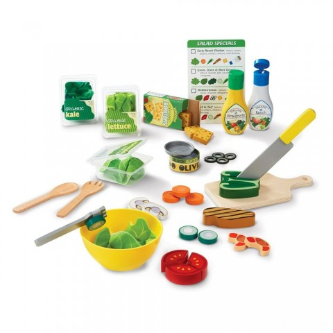Melissa & Doug Slice and Toss Salad Play Food Set - 52pc Wooden and Felt Free Shipping