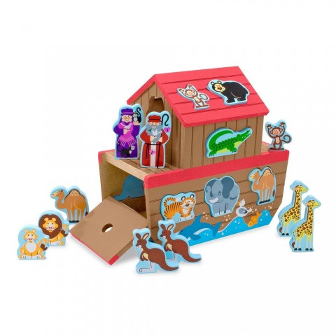 Melissa & Doug Noah's Ark Wooden Shape Sorter Educational Toy (28pc) Free Shipping
