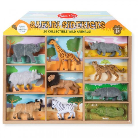 Melissa & Doug Safari Sidekicks - 10 Collectible Wild Animals Free Shipping