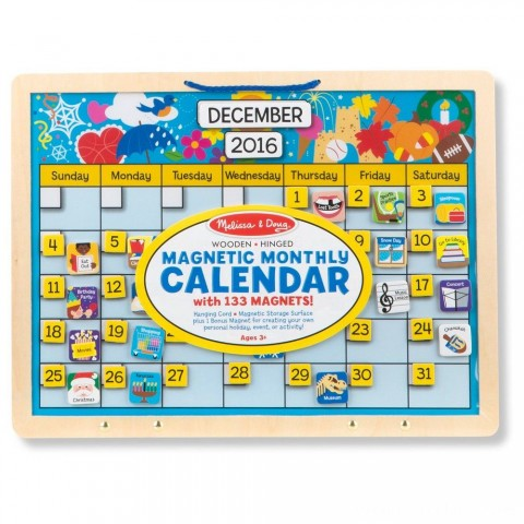 Melissa & Doug Monthly Magnetic Calendar With 133 Magnets and 2 Fabric-Hinged Dry-Erase Boards Free Shipping