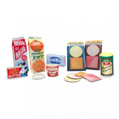 Melissa & Doug Fridge Groceries Play Food Cartons (8pc) - Toy Kitchen Accessories Free Shipping