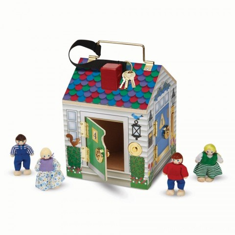 Melissa & Doug Take-Along Wooden Doorbell Dollhouse - Doorbell Sounds, Keys, 4 Poseable Wooden Dolls Free Shipping