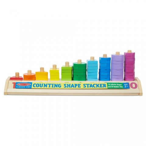 Melissa & Doug Counting Shape Stacker - Wooden Educational Toy With 55 Shapes and 10 Number Tiles Free Shipping