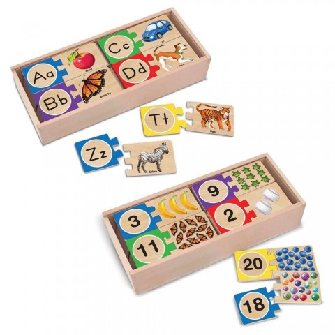 Melissa & Doug Self-Correcting Letter and Number Wooden Puzzles Set With Storage Box 92pc Free Shipping