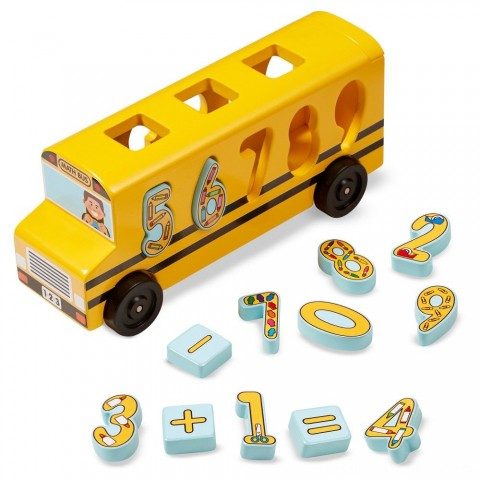 Melissa & Doug Number Matching Math Bus - Educational Toy With 10 Numbers, 3 Math Symbols, and 5 Double-Sided Cards Free Shipping