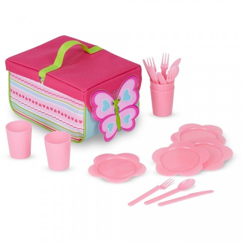 Melissa & Doug Sunny Patch Cutie Pie Butterfly Picnic Set With Basket, Plates, and Utensils Free Shipping