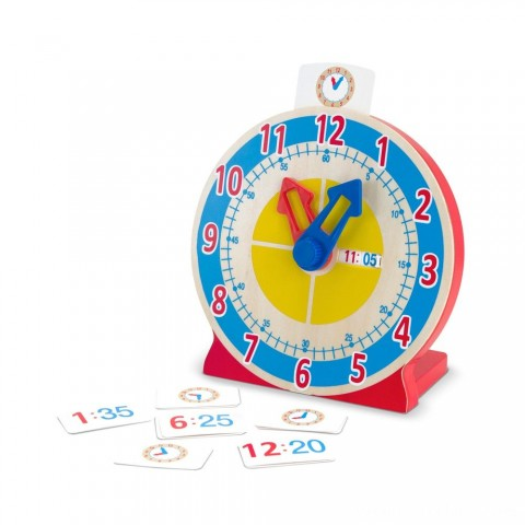 Melissa & Doug Turn & Tell Wooden Clock - Educational Toy With 12+ Reversible Time Cards Free Shipping