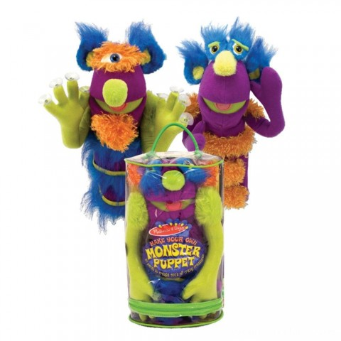 Melissa & Doug Make-Your-Own Fuzzy Monster Puppet Kit With Carrying Case (30pc) Free Shipping