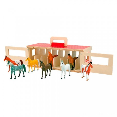 Melissa & Doug Take-Along Show-Horse Stable Play Set With Wooden Stable Box and 8 Toy Horses Free Shipping