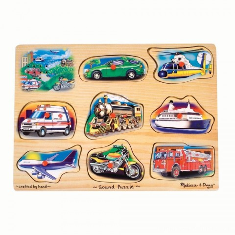 Melissa And Doug Vehicle Puzzle Wooden Peg Sound Puzzle 8pc Free Shipping