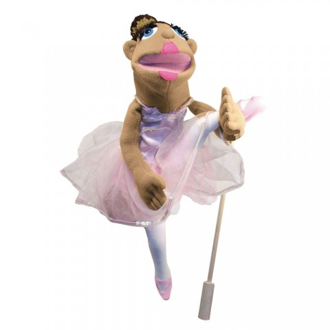 Melissa & Doug Ballerina Puppet - Full-Body With Detachable Wooden Rod for Animated Gestures Free Shipping