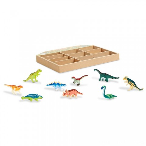 Melissa & Doug Dinosaur Party Play Set - 9 Collectible Miniature Dinosaurs in a Case Free Shipping