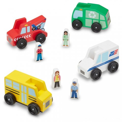 Melissa & Doug Community Vehicles Play Set - Classic Wooden Toy With 4 Vehicles and 4 Play Figures Free Shipping