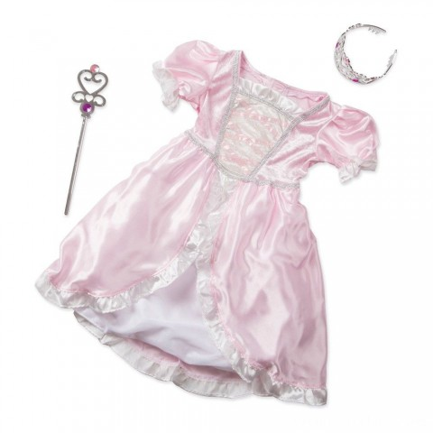 Melissa & Doug Princess Role Play Costume Set (3pc)- Pink Gown, Tiara, Wand, Women's, Size: Small Free Shipping