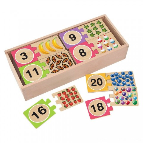Melissa & Doug Self-Correcting Wooden Number Puzzles With Storage Box 40pc Free Shipping