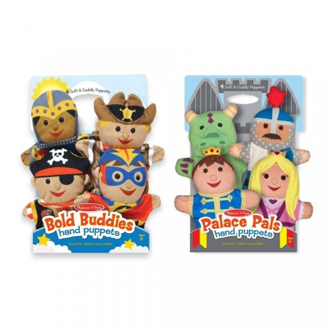Melissa & Doug Adventure Hand Puppets (Set of 2, 4 puppets in each) - Bold Buddies and Palace Pals Free Shipping