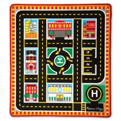Melissa & Doug Round The City Rescue Rug With 4 Wooden Vehicles (39 x 36 inches) Free Shipping