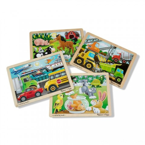 Melissa & Doug Wooden Jigsaw Puzzles Set: Vehicles, Pets, Construction, and Farm 4 puzzles 48pc Free Shipping
