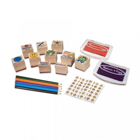 Melissa & Doug Wooden Classroom Stamp Set With 10 Stamps, 5 Colored Pencils, 4 Sticker Sheets, and 2-Colored Stamp Pad Free Shipping