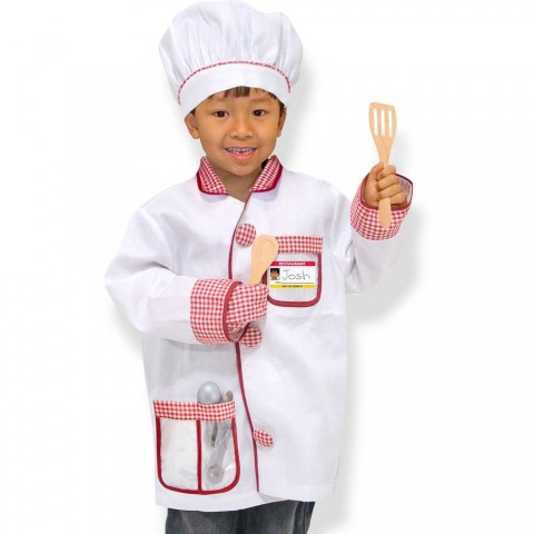 Melissa & Doug Chef Role Play Costume Dress -Up Set With Realistic Accessories, Adult Unisex, Red/Gold/red Free Shipping