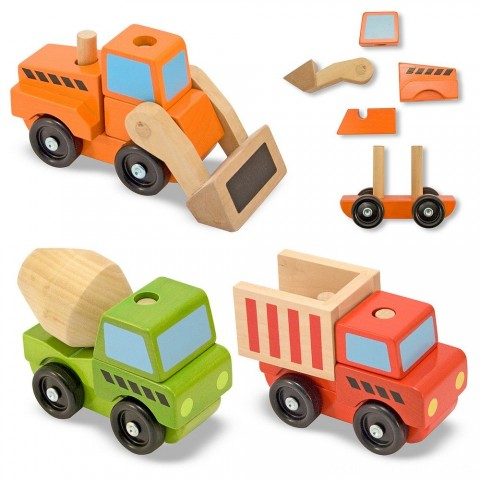 Melissa & Doug Stacking Construction Vehicles Wooden Toy Set Free Shipping