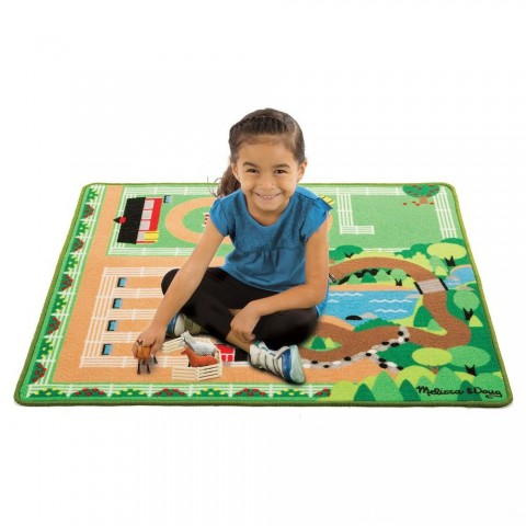 Melissa & Doug Round the Ranch Horse Activity Rug (39 x 36 inches) With 4 Play Horses and Folding Fence Free Shipping
