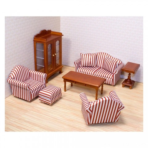 Melissa & Doug Classic Victorian Wooden and Upholstered Dollhouse Living Room Furniture (9pc) Free Shipping