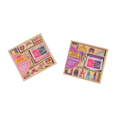 Melissa & Doug Wooden Stamps, Set of 2 - Princess and Friendship, With 18 Stamps, 10 Colored Pencils, and 2 Stamp Pads Free Shipping